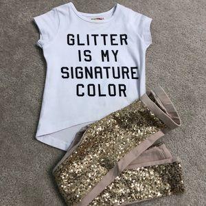 Girl's t-shirt & sequined leggings by Joyfolie